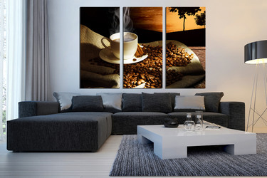 3 piece canvas wall art, living room art, coffee beans photo canvas, kitchen canvas print, cup art