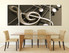 3 piece large pictures, dining room wall art, musical notes multi panel art, brown canvas photography, panoramic group canvas