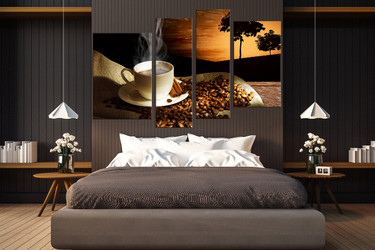 bedroom decor, 4 Piece Wall Art, coffee beans canvas photography, cup group canvas, cup large pictures