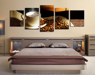 bedroom decor, 5 piece wall art, coffee beans canvas wall art, cup panoramic  canvas photography, cup art