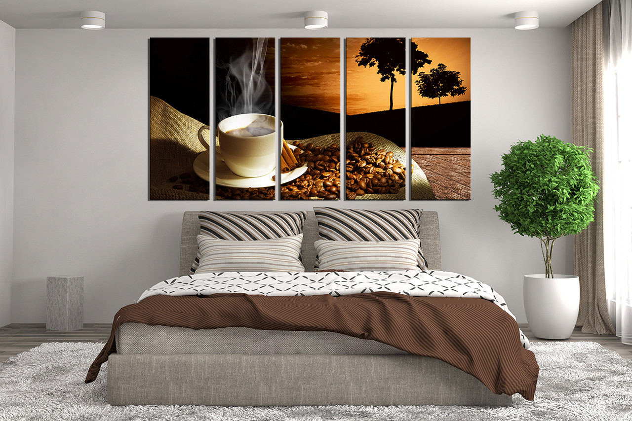 5 Piece Large Canvas, Coffee Wall Decor, Coffee Beans Multi Panel Canvas,  Brown Canvas Art Prints, Cup Plate Group Canvas, Cinnamon Artwork