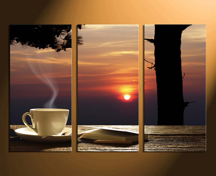 3 piece large pictures, cup plate multi panel canvas, sunset canvas