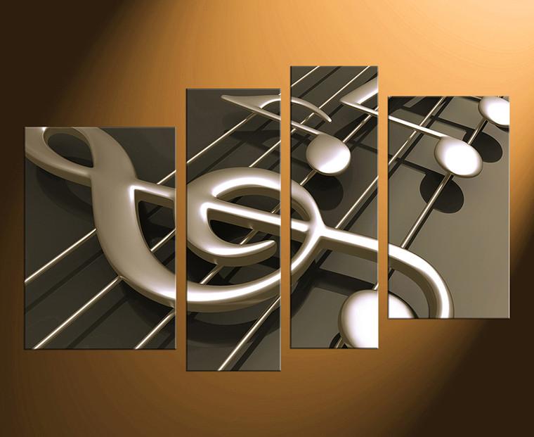 4 piece canvas wall art, home decor, musical notes canvas print, music huge canvas art, brown musical instrument artwork