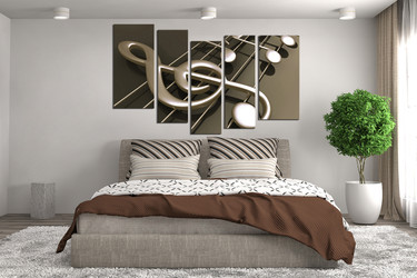 5 piece canvas wall art, bedroom huge pictures, musical notes decor, music artwork, music art