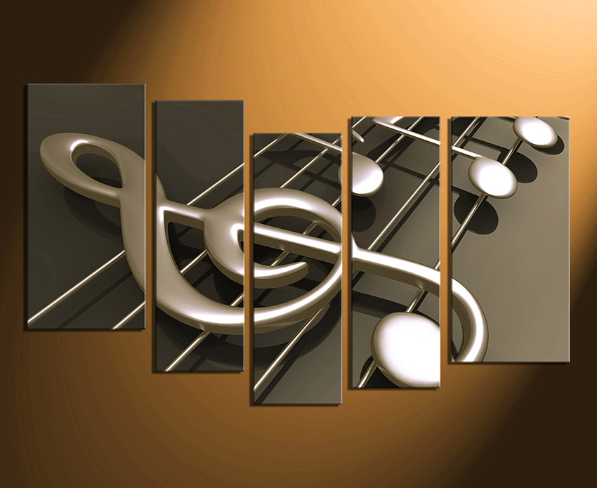 5 Piece Photo Canvas, Musical Notes Wall Art, Music Huge Pictures, Music  Canvas