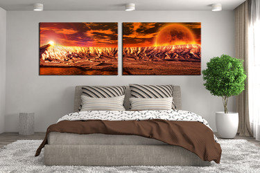 2 piece large pictures, bedroom artwork, orange multi panel art, landscape wall decor, panoramic group canvas