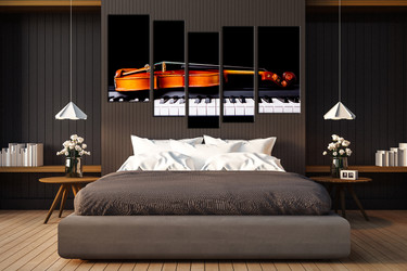 bedroom decor, 5 Piece Wall Art, violin wall art, music wall decor, piano huge pictures