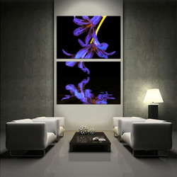 2 piece canvas photography, living room wall decor, floral purple large pictures, flower canvas print