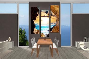 3 piece canvas wall art, ocean wall decor, yellow photo canvas, dining room artwork, sea artwork, sunset multi panel art