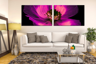 2 piece photo canvas, flower multi panel canvas, purple multi panel canvas, floral multi panel art, living room huge canvas art