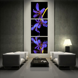 3 piece photo canvas, flower artwork, purple multi panel canvas, floral multi panel art, living room huge canvas art