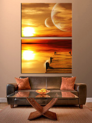 2 piece canvas print, orange multi panel canvas, ocean huge pictures, wooden path sea huge canvas art, living room canvas photography
