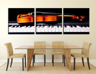 dining room huge canvas print, 3 piece canvas art prints, orange  huge canvas art, music photo canvas, piano canvas print