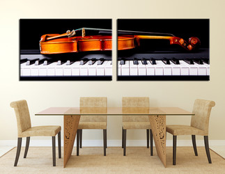dining room huge canvas print, 2 piece canvas art prints, orange  huge canvas art, music photo canvas, piano canvas print