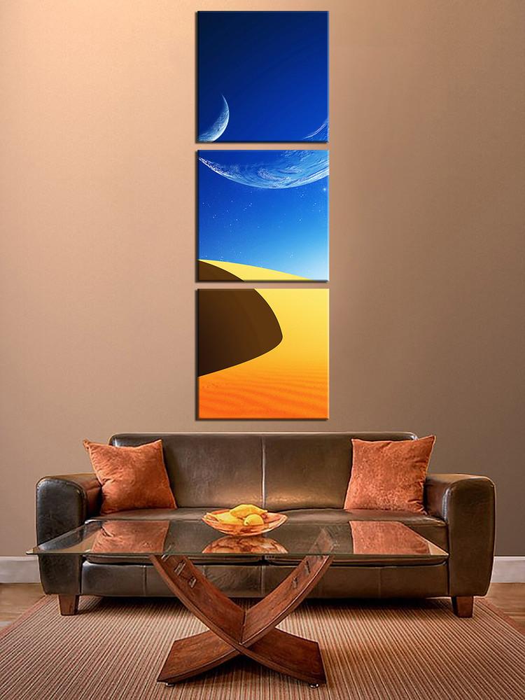 3 Pieces Wall Decor For Living Room: 3 Piece Canvas Wall Decor, Desert Photo Canvas, Planet