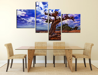 4 piece canvas wall art, dining room multi panel art, dead tree group canvas, scenery canvas photography