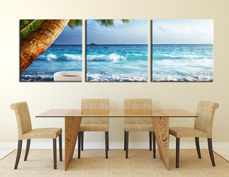 3 piece canvas wall art, dining room huge pictures, ocean multi panel art, blue  group canvas