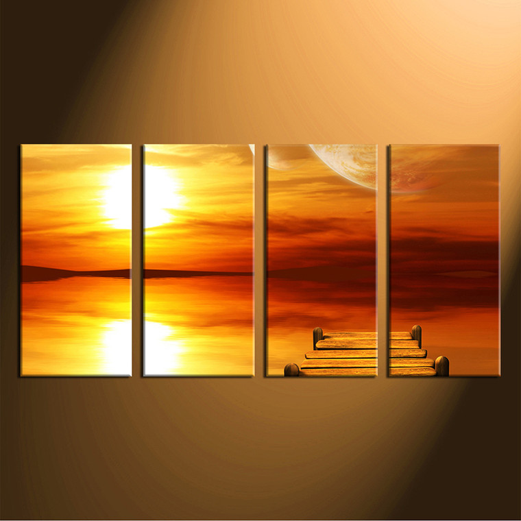 4 piece canvas print, home decor,  yellow huge canvas print, planet huge pictures, wooden path group canvas