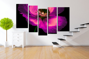 5 piece photo canvas,  flower group canvas,  purple artwork, floral art,  flower multi panel canvas
