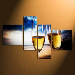 4 piece canvas wall art, home decor, champagne large pictures, yellow artwork, champagne glass canvas photography
