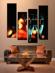 living room wall art,4 piece wall art, champagne multi panel art, wine large pictures, wine huge canvas print