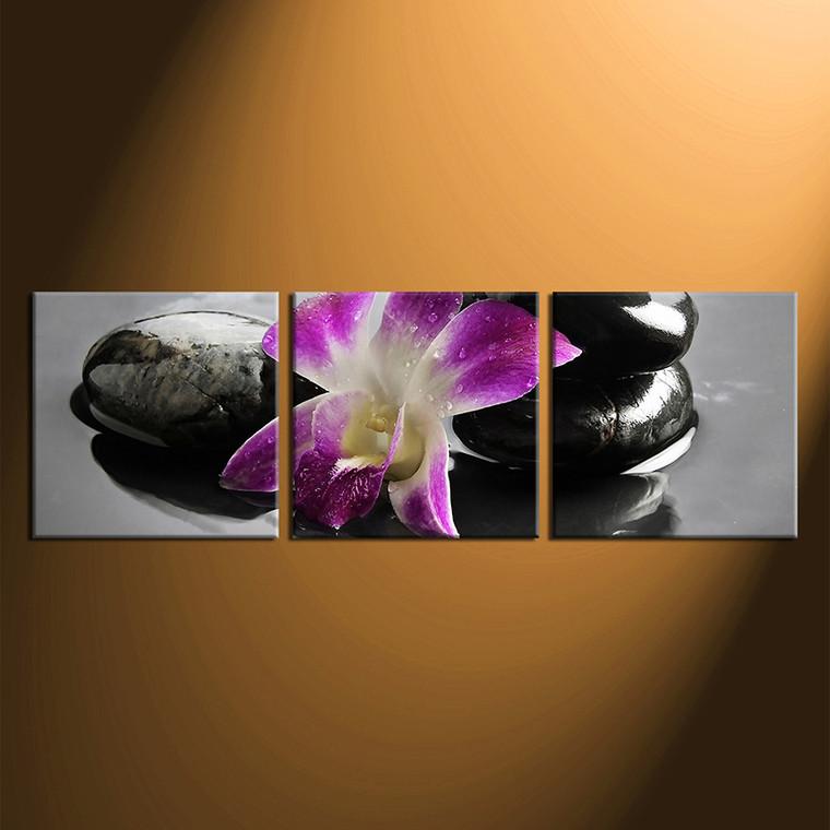 3 piece canvas wall art,  floral wall decor,  purple  canvas print, home decor large pictures,  flower huge pictures