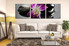3 piece photo canvas,  living room group canvas,  purple artwork, floral art,  flower multi panel canvas