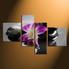 4 piece canvas wall art,  floral wall decor,  purple  canvas print, home decor large pictures,  flower huge pictures