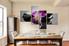 4 piece multi panel art,  dining room huge canvas art,  flower huge canvas print,  purple canvas photography