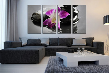 4 piece huge pictures,  living room group canvas,  purple artwork, floral art,  flower multi panel canvas