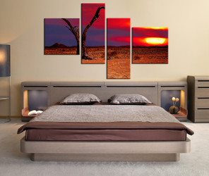 4 piece wall decor, orange nature photo canvas, bedroom large pictures, scenery multi panel canvas, scenery multi panel canvas