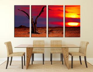 4 piece wall decor, dining room canvas print, dead tree artwork, scenery multi panel canvas, nature artwork