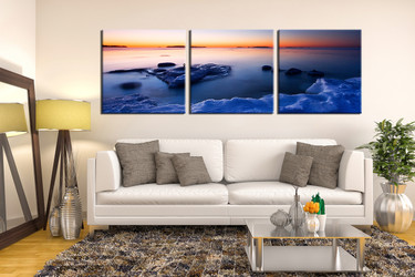 3 piece large pictures, living room artwork, ocean multi panel canvas, sea art, panoramic wall decor