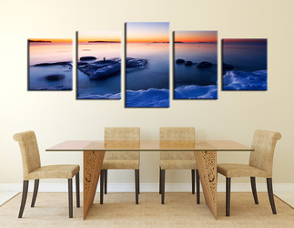 5 piece photo canvas, dining room artwork, ocean huge canvas print, blue huge pictures, panoramic canvas wall art