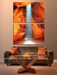 2 piece canvas wall art, living room wall art, landscape photo canvas, orange landscape huge pictures, mountain multi panel art