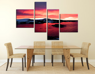 4 piece canvas photography, dining room huge canvas print, landscape multi panel art, red canvas art prints, landscape huge pictures, ocean wall decor