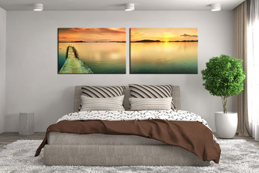 2 piece large pictures, bedroom photo canvas, blue multi panel canvas, sea canvas photography, desert artwork