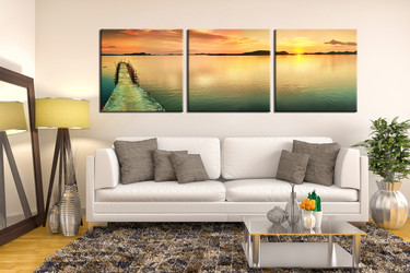 3 piece canvas wall art, living room canvas photography, ocean artwork, blue photo canvas, beach canvas print