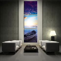 3 piece canvas wall art, living room huge canvas print, ocean boat multi panel canvas, blue artwork, beach canvas photography