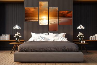 4 piece canvas wall art, bedroom huge canvas print, ocean multi panel canvas, orange artwork, sea sunset canvas photography