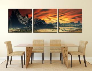 3 piece large pictures, dining room wall decor, orange landscape group canvas, landscape artwork, landscape wall art