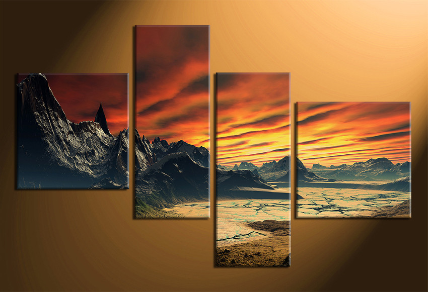 Abstract acrylic painting yellow sunset scenery landscape black mountain art orange cloud canvas painting oversize wall art wall pictures