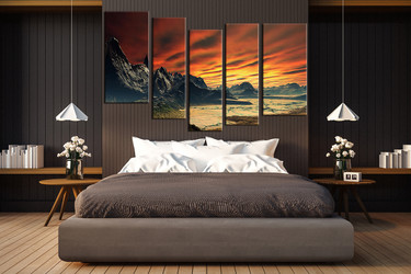5 piece canvas wall art, orange landscape wall art, landscape multi panel canvas, landscape artwork