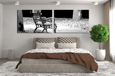 2 piece canvas wall art, bedroom art, black and whitemulti panel art, panoramic modern huge pictures