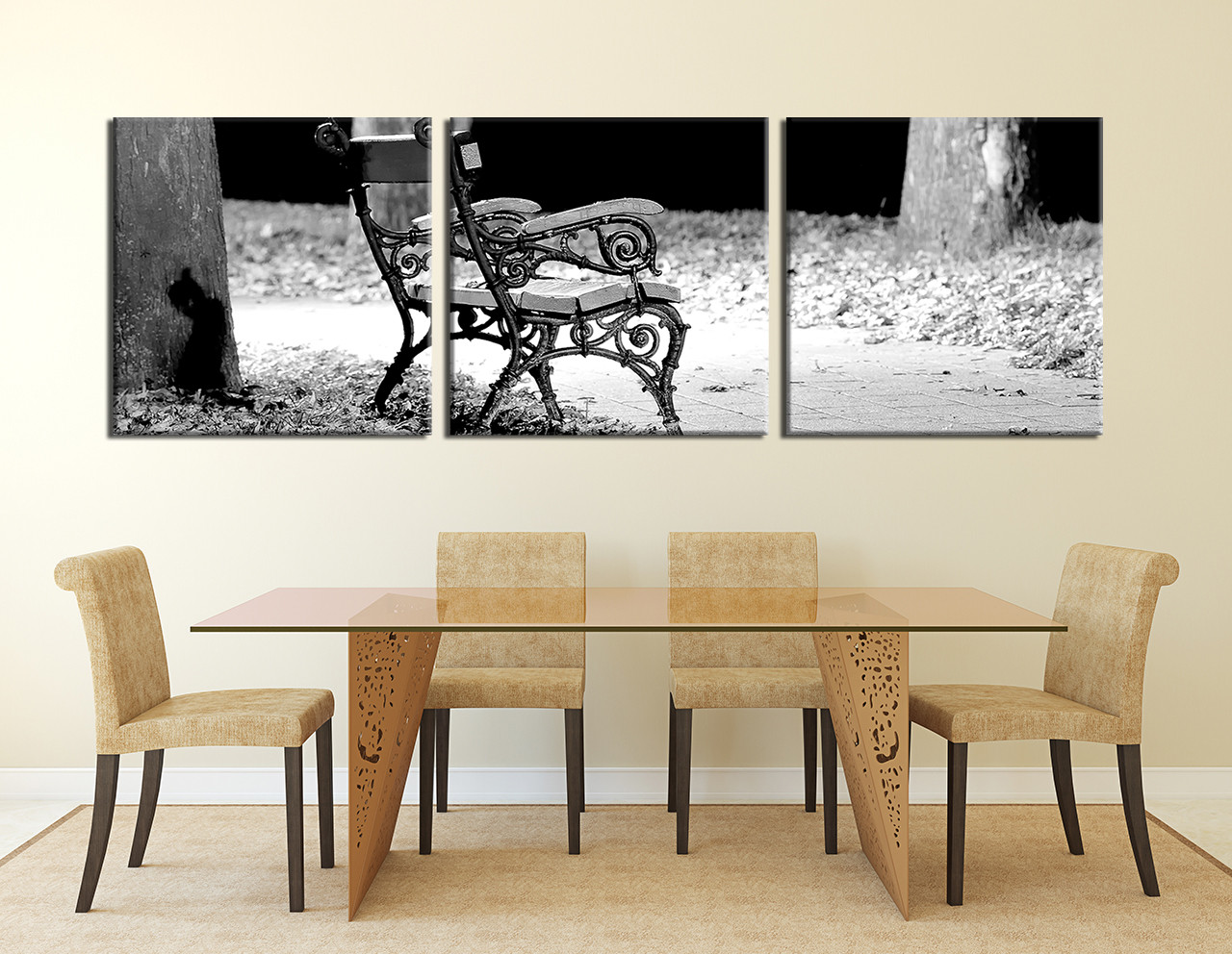 3 Piece Canvas Wall Art Black And White Modern