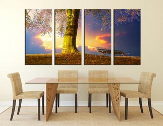 dining room wall decor, 4 Piece Wall Art, scenery multi panel art, nature artwork, scenery  art