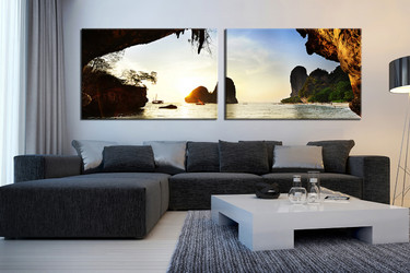 2 piece large pictures, living room multi panel art, sea photo canvas, ocean wall decor, panoramic artwork
