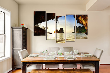 5 piece huge canvas print, dining room photo canvas, yellow large pictures, ocean art, trees beach multi panel canvas