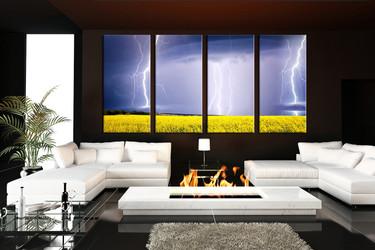 scenery artwork, living room art, 4 piece canvas wall art, scenery decor, thunderstorm artwork