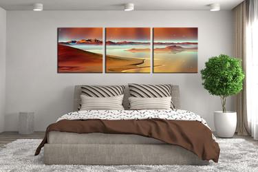 3 piece huge canvas print, bedroom multi panel art, sea artwork, ocean huge pictures, panoramic wall decor